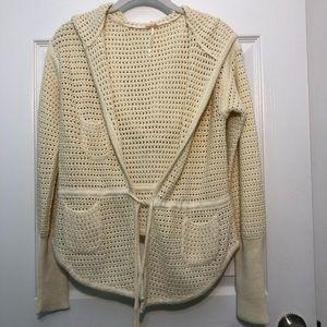 Free People Ivory Crochet Waist-Tie Cardigan EUC